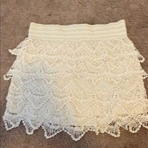 American Rag cream colored crochet skirt
